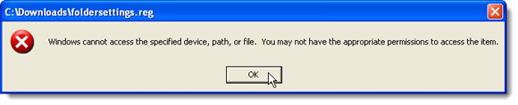 Windows cannot access the file error dialog box