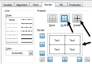 excel add cell borders