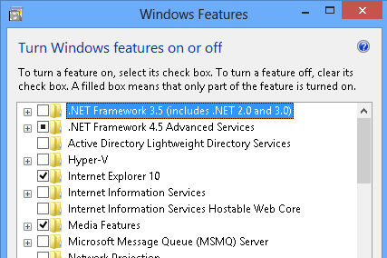 NET Framework 35 30 20 Windows 8 10